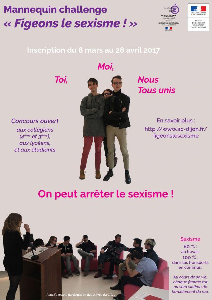 """Affiche du Mannequin Challenge """"Figeons le Sexisme !"""""""